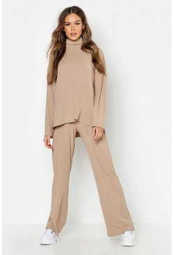 Camel beige Roll Neck T-Shirt + Trouser Co-Ord Set