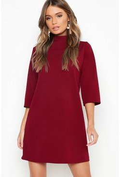 High Neck 3/4 Sleeve Shift Dress, Berry rosso