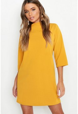 Mustard yellow High Neck 3/4 Sleeve Shift Dress
