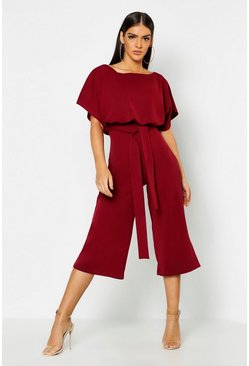 Berry red Slash Neck Tie Waist Culotte Jumpsuit
