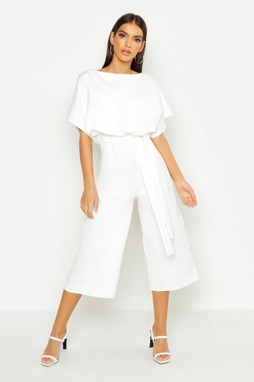 Ivory white Slash Neck Tie Waist Culotte Jumpsuit