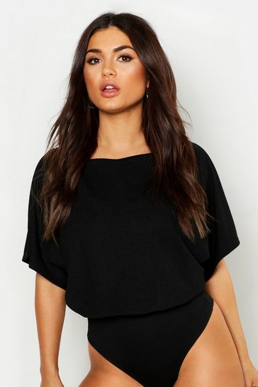 Black Slash Neck Bodysuit