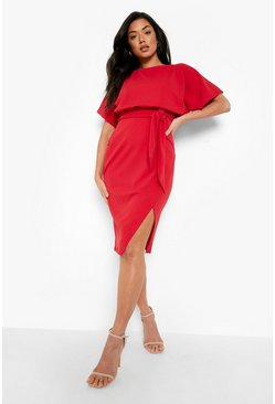 Red Slash Neck Tie Waist Midi Dress