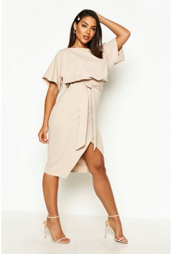 Stone beige Slash Neck Tie Waist Midi Dress