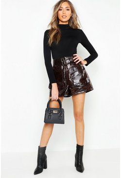 Chocolate brown Snake Print Leather Look Belted Pocket Shorts