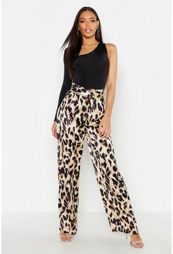 Tan brown Satin Leopard Belted Wide Leg Pants