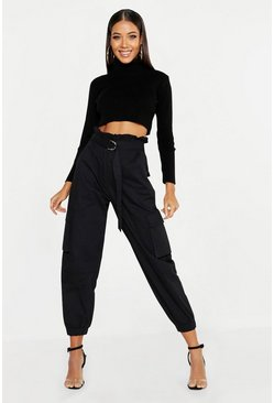 Black Paperbag D-Ring Belted Cargo Trousers
