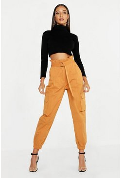Tobacco brown Paperbag D-Ring Belted Cargo Trousers