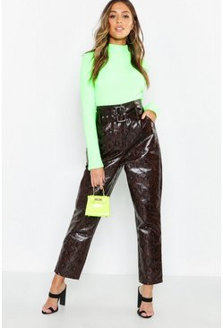 Chocolate brown Snake Print Faux Leather Belted Pants