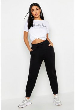 Zwart black Basic Regular Fit Joggingbroek