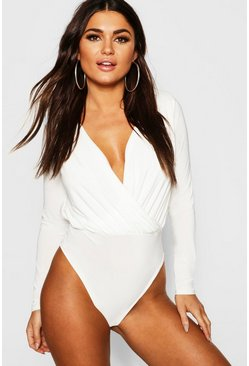 Cream Long Sleeve Wrap Front Bodysuit