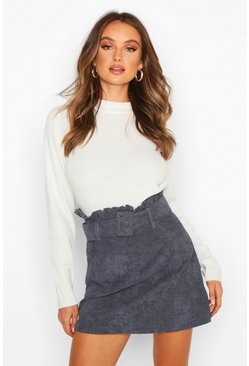 Denim blue Cord Belted Mini Skirt