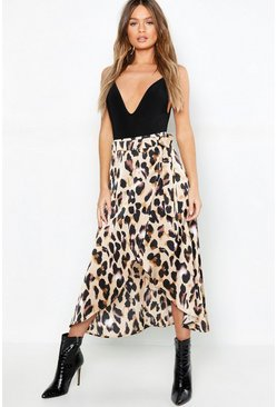Tan brown Leopard Satin Wrap Midaxi skirt