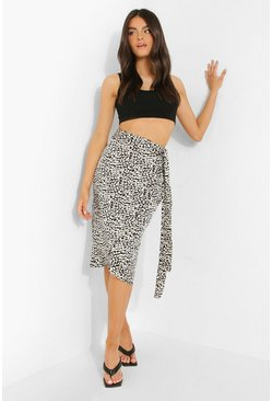 Black Leopard Satin Wrap Midi Skirt