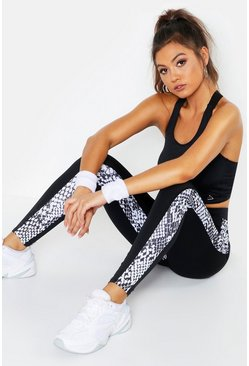 Black Fit Snake Print Running Leggings