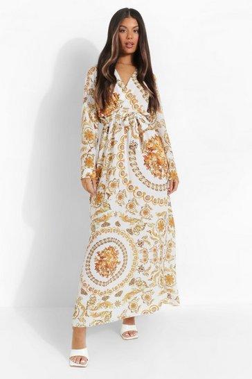 White Chain Print Wrap Front Maxi Dress