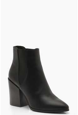 Black Pointed Chelsea Style Western Boots