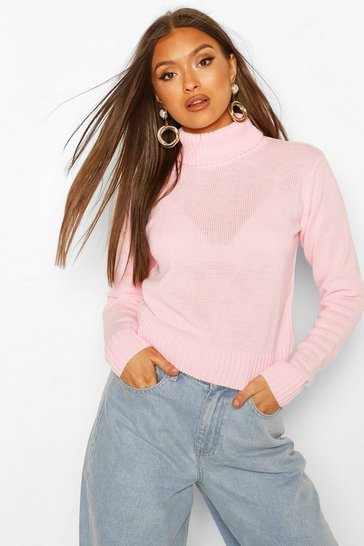 Baby pink Roll Neck Crop Jumper