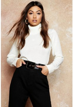 Cream white Roll Neck Crop Jumper