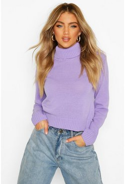Lilac purple Turtleneck Crop Sweater