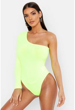 Lime green One Shoulder Jumbo Rib Bodysuit