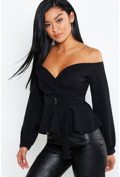 Black Crepe Off The Shoulder Wrap Peplum Top