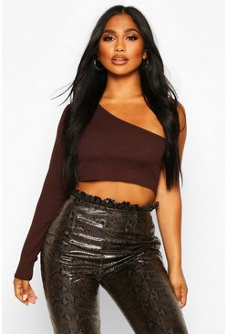 Chocolate brown One Shoulder Rib Basic Crop Top