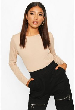 Wine red Rib Long Sleeve Basic Crew Neck Top