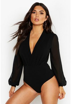 Black Wrap Chiffon Split Sleeve Bodysuit