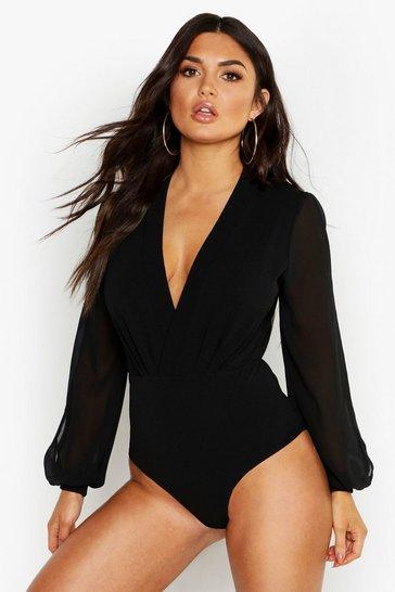 Black Wrap Chiffon Split Sleeve Bodysuit