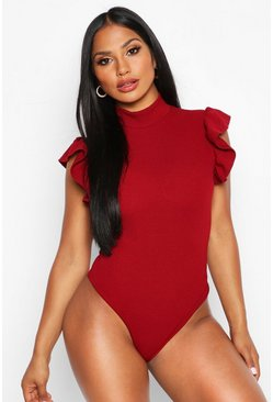 Berry red HighNeck Frill Sleeve Bodysuit