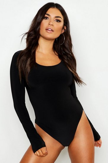 Black Slinky Double Layer Plunge Long Sleeve Bodysuit