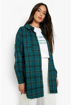 Bottle green Oversized Frayed Check Shirt