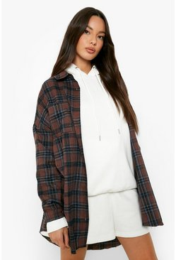 Brown Oversized Frayed Flannel Shirt