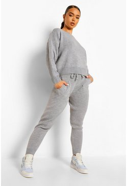 Grey Slash Neck Cropped Knitted Set