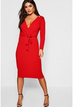 Red Button Shoulder Belted Midi Dress