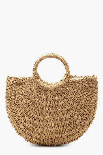 Natural beige Circle Handle Straw Bag - Small