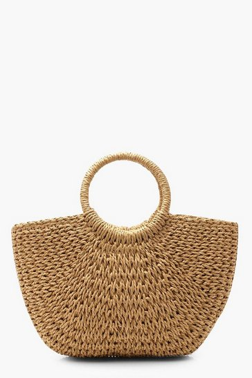 Natural beige Circle Handle Straw Bag - Large