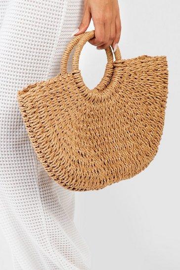 Natural beige Circle Handle Straw Bag - Large