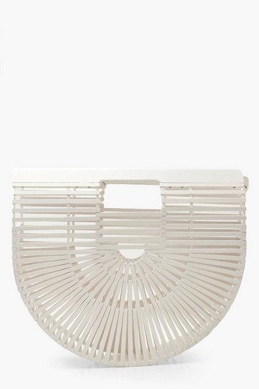 White Wooden Structured Grab Bag - Small