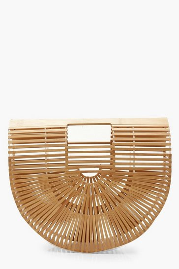 Natural beige Wooden Structured Grab Bag - Small