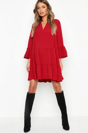 Berry red Woven Tiered Smock Dress