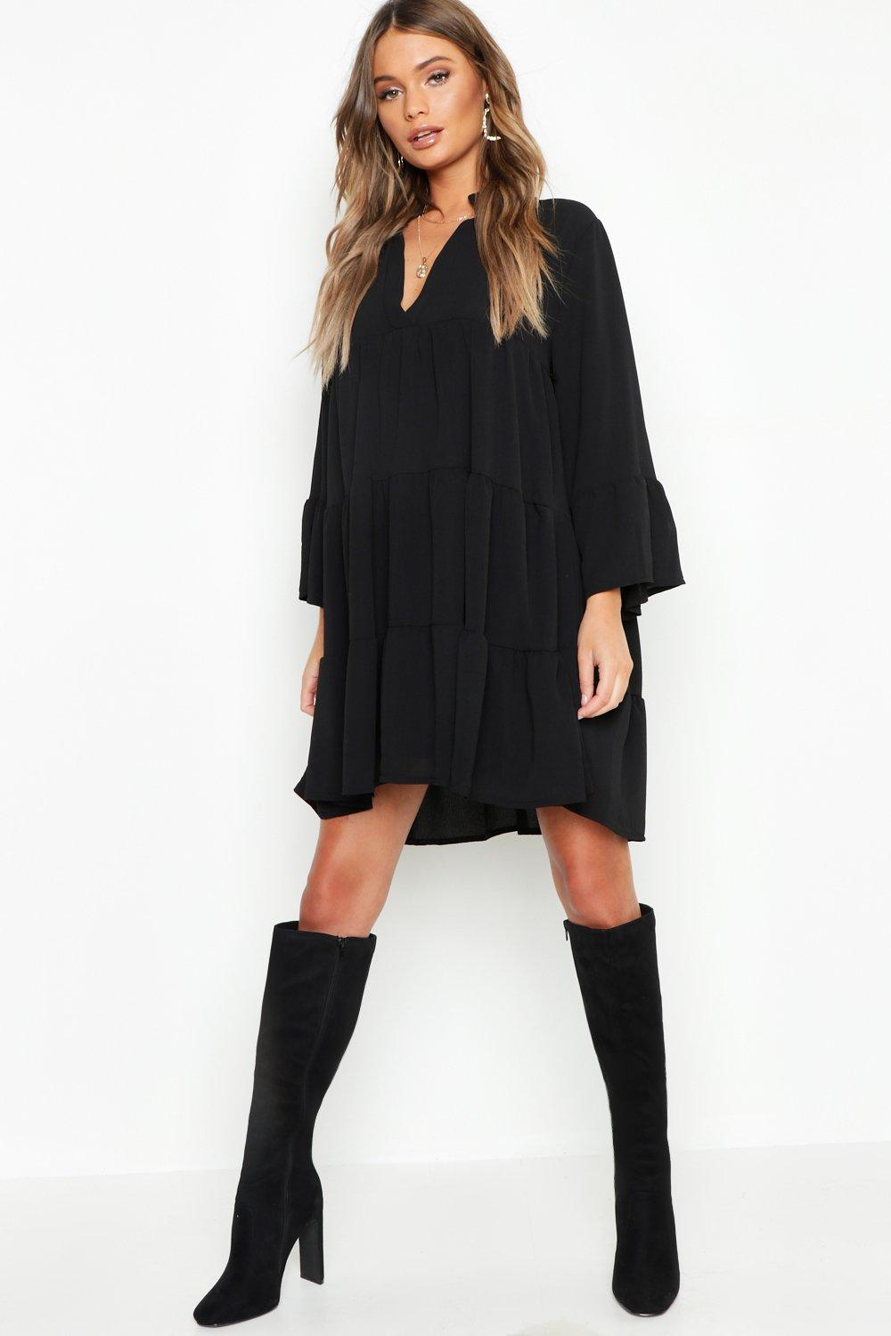 DRESSES Woven Tiered Smock Dress