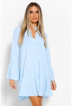 Pale blue Woven Tiered Smock Dress