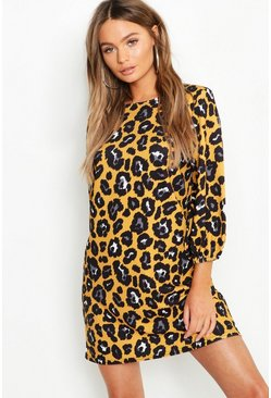 Mustard Leopard Print High Neck Blouson Sleeve Shift Dress
