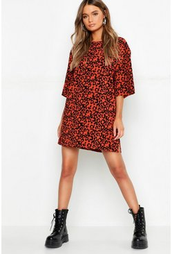 Terracotta orange Oversized Leopard Ribbed Shift Dress