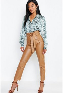 Caramel beige Leather Look Paperbag High Waist Trousers