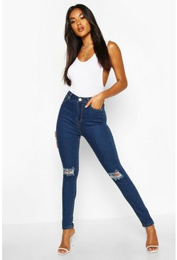 Mid blue blue High Waist Distressed Skinny Jeans