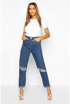 Mid blue blue Mid Rise Distressed Boyfriend Jeans