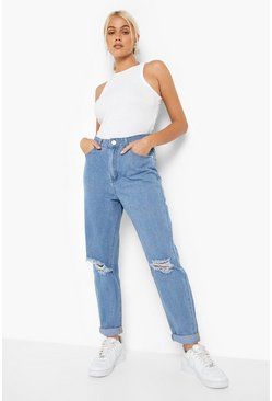 Light blue blue Mid Rise Distressed Boyfriend Jeans